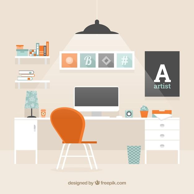 Modern workspace background Free Vector