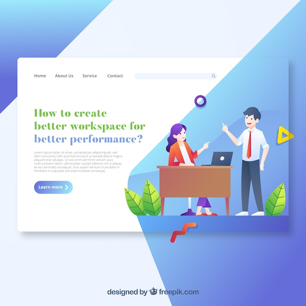 Modern workspace landing page concept Free Vector