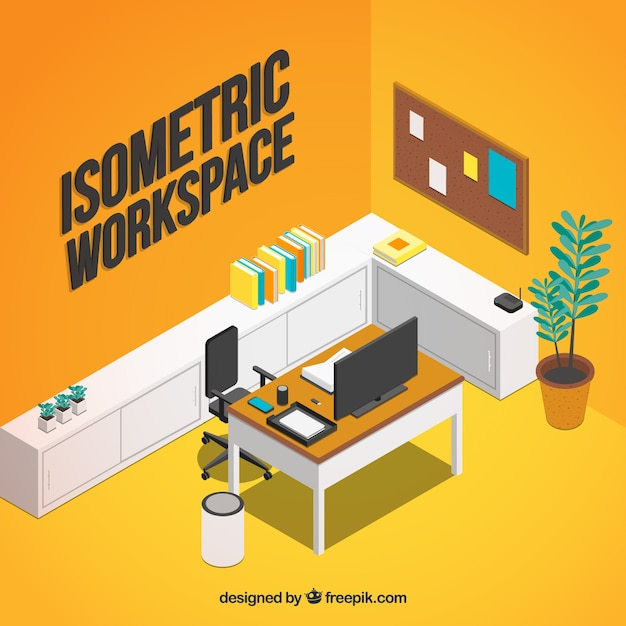 Modern workspace with isometric style