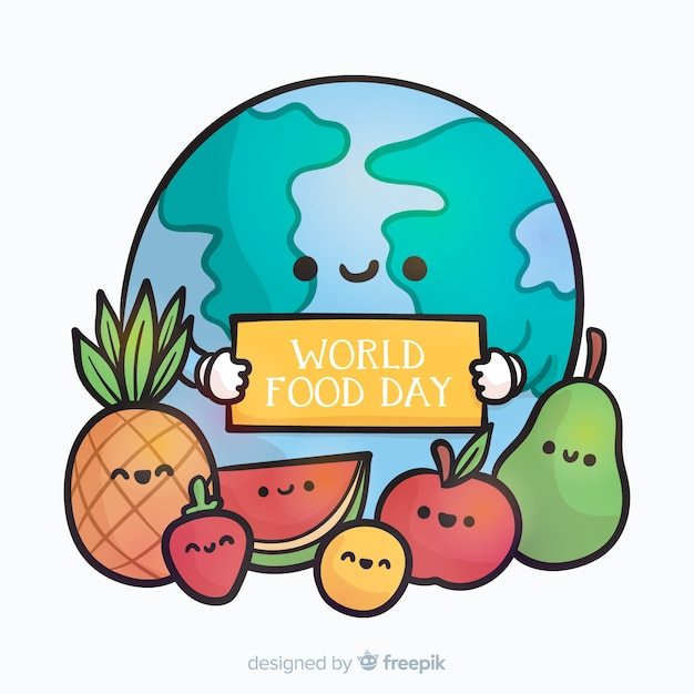 Modern world food day background Free Vector