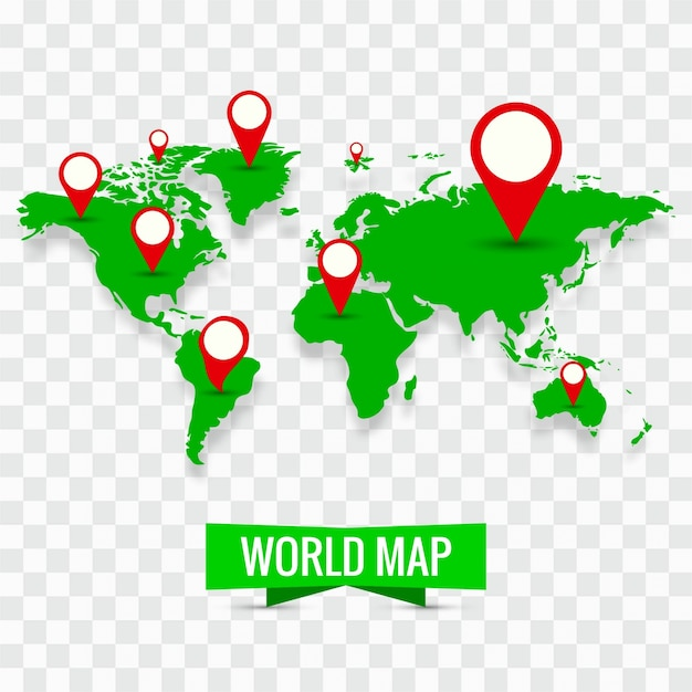 Modern world map with pins vector free download modern world map with pins free vector gumiabroncs Choice Image
