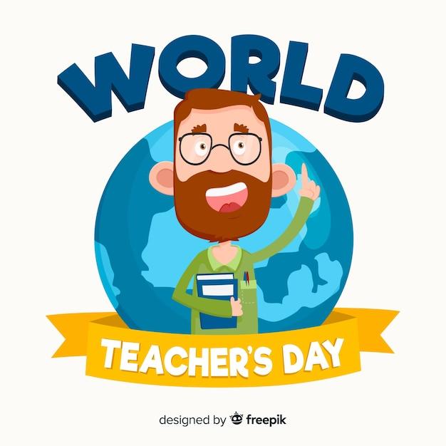 Modern world teachers day background design Free Vector