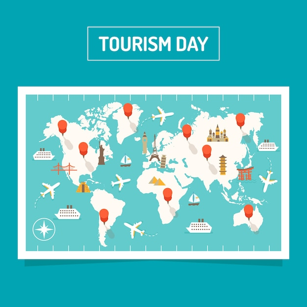 Modern world tourism day composition with flat design Free Vector