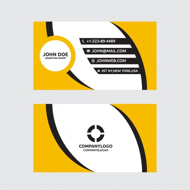 Modern yellow and black business card Vector | Free Download