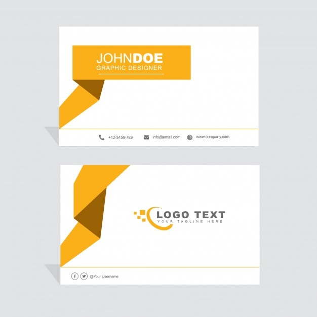 Modern yellow and white business card
