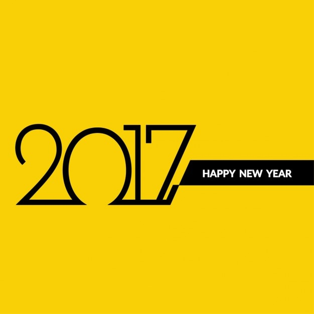 modern yellow background of new year 2017 free vector