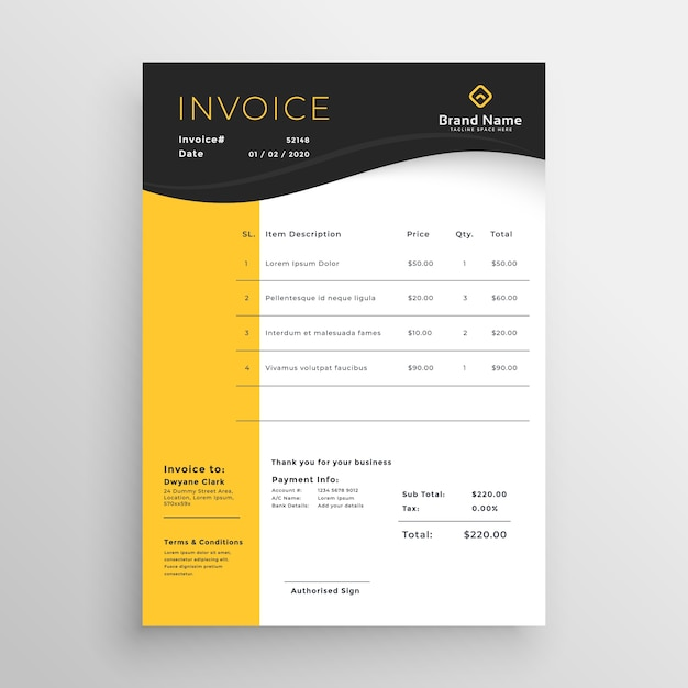 Modern Yellow Black Vector Invoice Template Design Vector Free