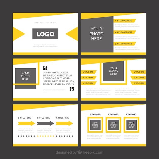 Modern yellow business presentation Free Vector