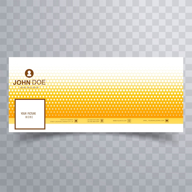 Modern yellow dotted facebook cover for timeline design Free Vector