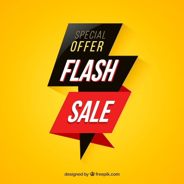 Modern yellow flash sale background Free Vector