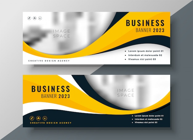 Modern yellow wavy business banner design Free Vector