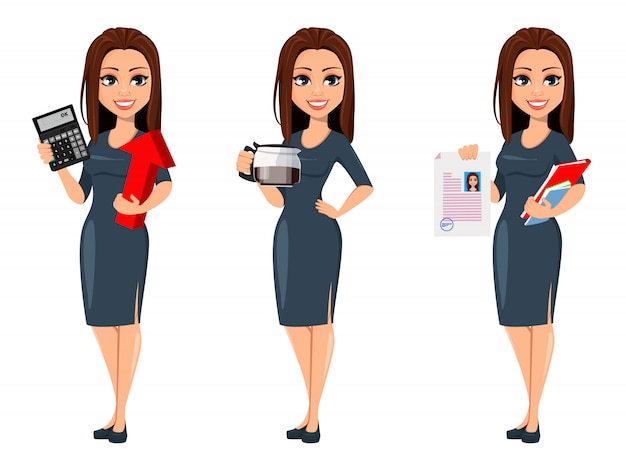 Modern young business woman in gray dress Premium Vector