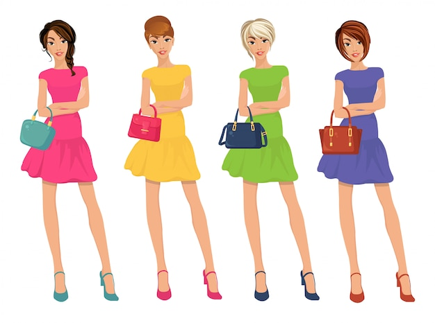 Modern young sexy shopping girls figures with sale fashion bags Premium Vector