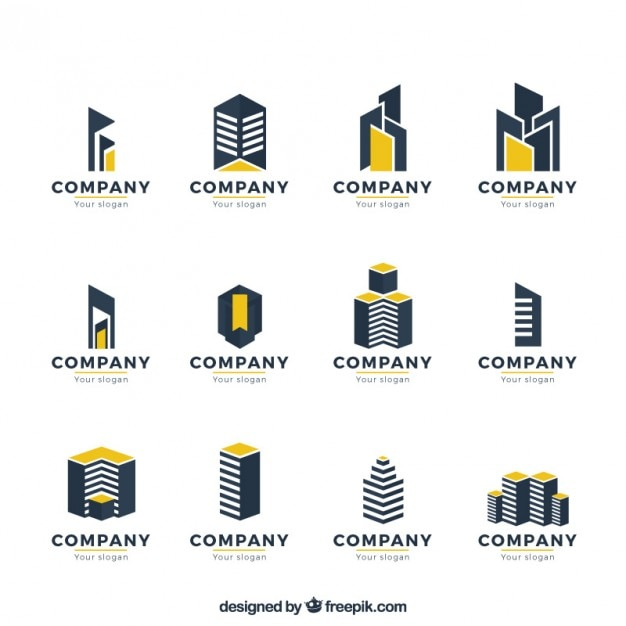 Real Estate Development Companies : Modernist real estate logo collection vector free download