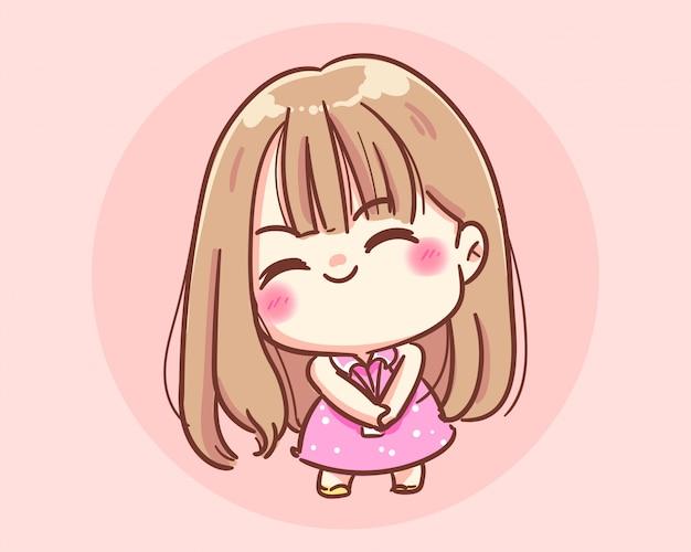 Скромно улыбающаяся девушка из мультфильма premium векторы Premium векторы