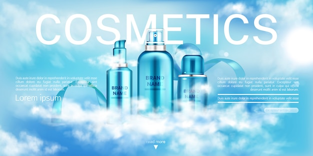 Moisturize cosmetic advertising promo template. Free Vector
