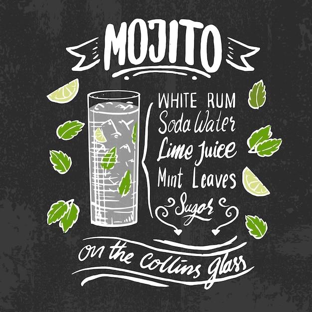 Mojito alcoholic cocktail recipe on blackboard Free Vector