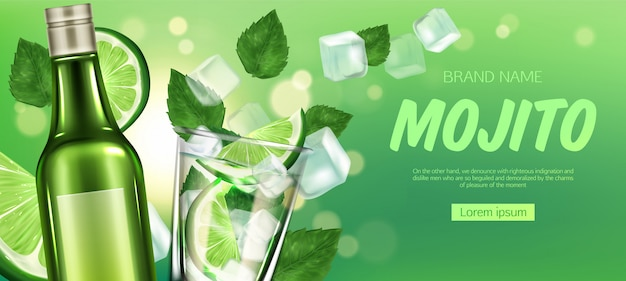 Mojito bottle and glass with liquor, lime and ice Free Vector