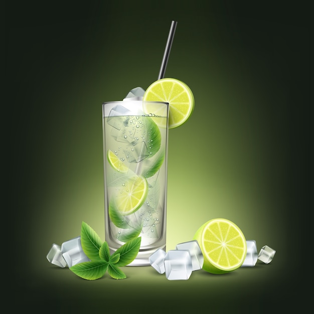Mojito cocktail with fresh sliced lime, ice cubes, mint sprig and black straw tube isolated on black background Premium Vector