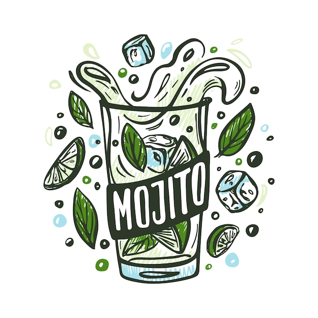 Mojito with ingredients Premium Vector