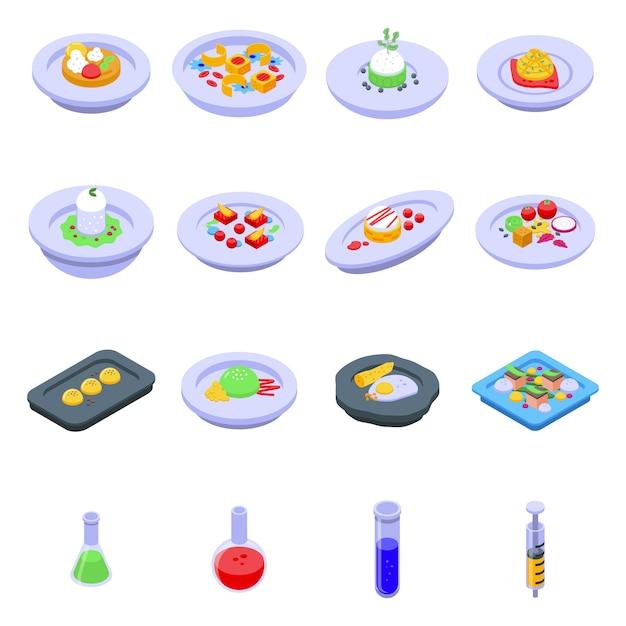 Набор иконок молекулярной кухни, изометрический стиль Premium векторы
