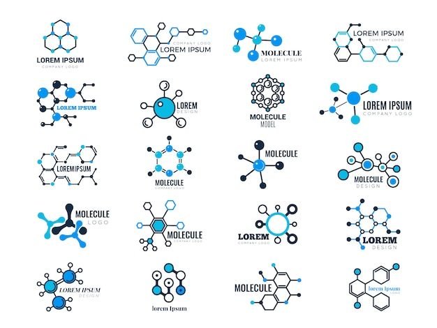 Molecular logotypes. evolution concept formula chemistry genetic technology medical information node cell Premium Vector
