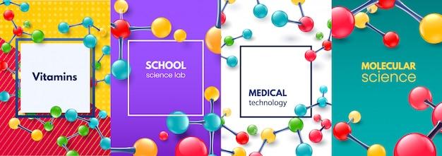 Молекулярная наука баннер. молекула витаминов, современная медицинская научная структура и школьная научная лаборатория баннеры фон набор Premium векторы