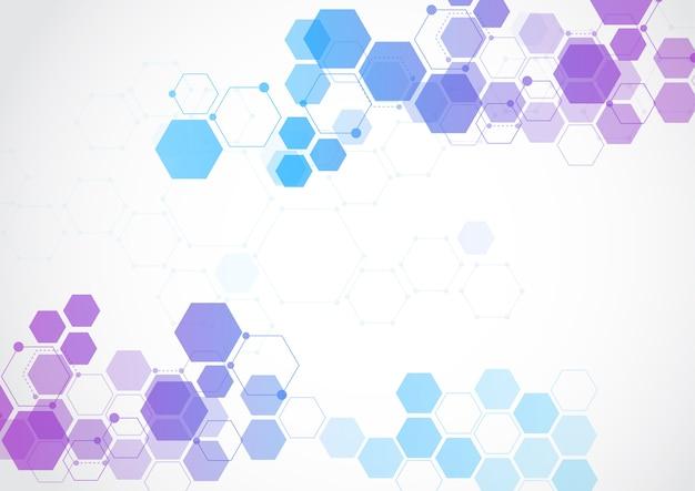 Molecular structure abstract tech background Premium Vector