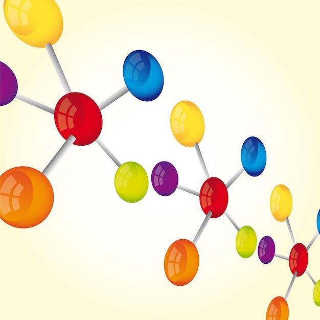 Molecular with perspective over yellow background vector Premium Vector