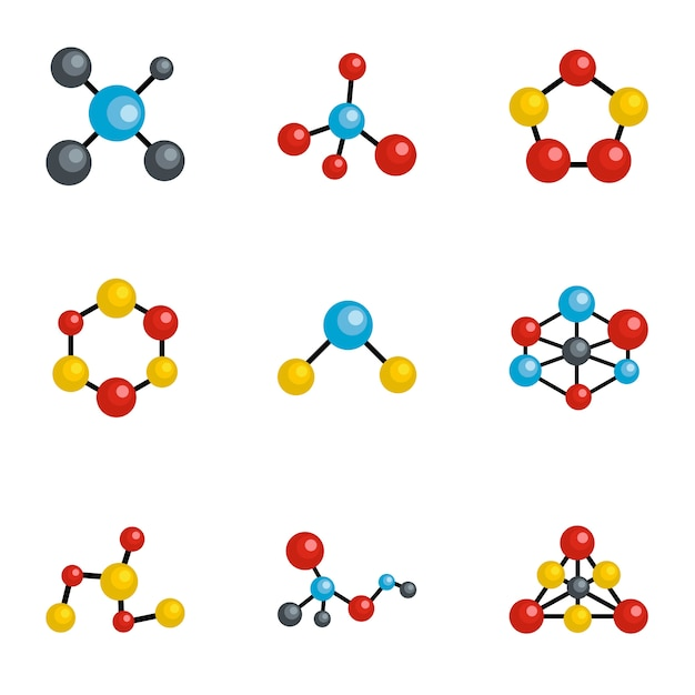 Molecule icons set, cartoon style Premium Vector