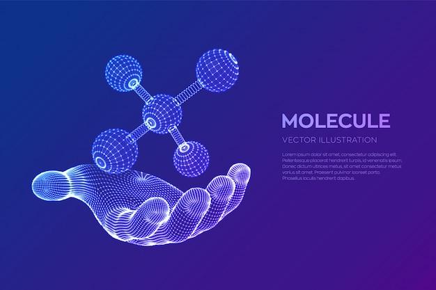 손에 분자. dna, 원자, 뉴런. 분자 및 화학식. 무료 벡터
