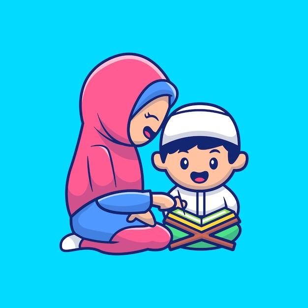 ママと子供のイスラム教はクルアーンのイラストを読みます。ラマダンマスコットの漫画のキャラクター。人。フラット漫画スタイル Premiumベクター