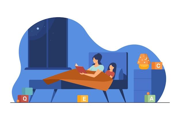 Мама и маленькая дочь читают книгу в постели. сказка на ночь, сказка, плоская иллюстрация матери Бесплатные векторы