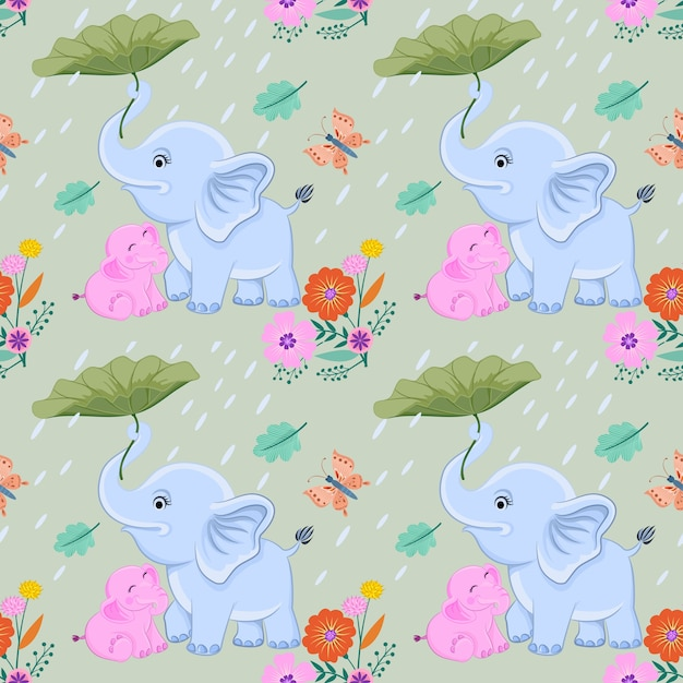 Mom and baby elephant vector design. Premium Vector