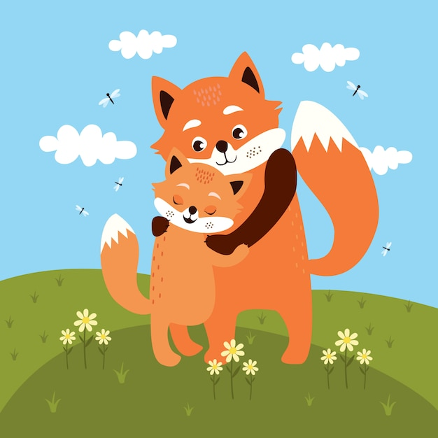 Mom and baby fox hug in the meadow Free Vector