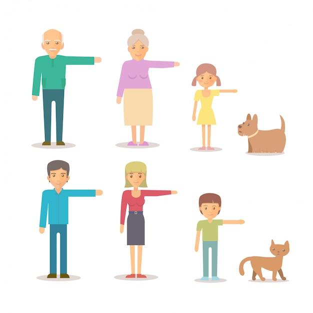 Premium Vector Mom Dad Grandma Grandpa Son Daughter Dog Cat Family Character Set