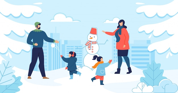 Mom and dad with kids enjoying winter together Premium Vector