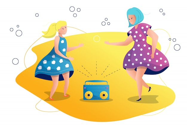 Mom and daughter are dancing illustration Premium Vector