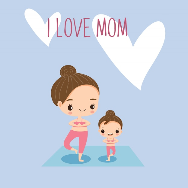 Mom and daughter doing yoga together Premium Vector