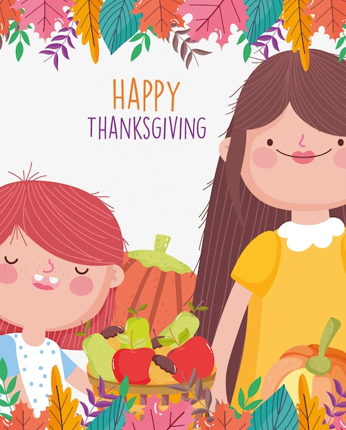 Mom and daughter food and foliage decoration Premium Vector