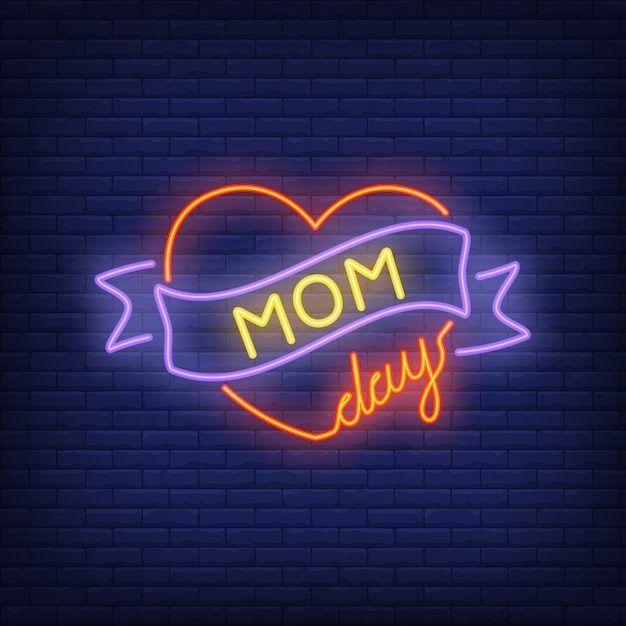 Mom day neon sign. bright red heart with ribbon. night bright advertisement. Free Vector