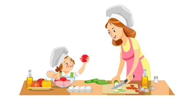 Mom and kid girl preparing healthy food at home Premium Vector