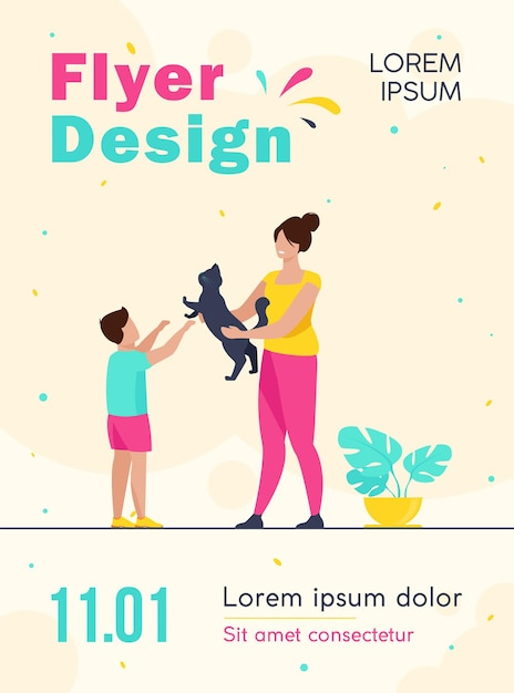 Mom and son adopting pet flyer template Free Vector