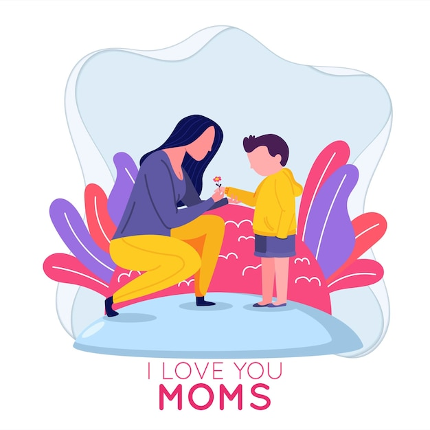 Mom and son celebrate mother's day Premium Vector