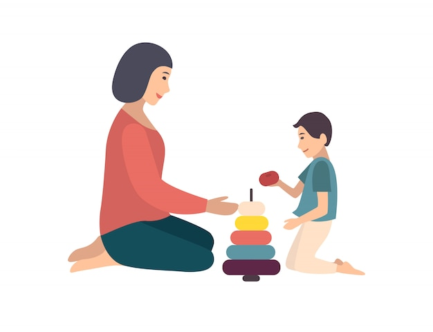 Mom and son sitting on floor and building pyramid together. mother teaching her little boy to play with toy. funny cartoon characters isolated on white background. flat colored   illustration Premium Vector
