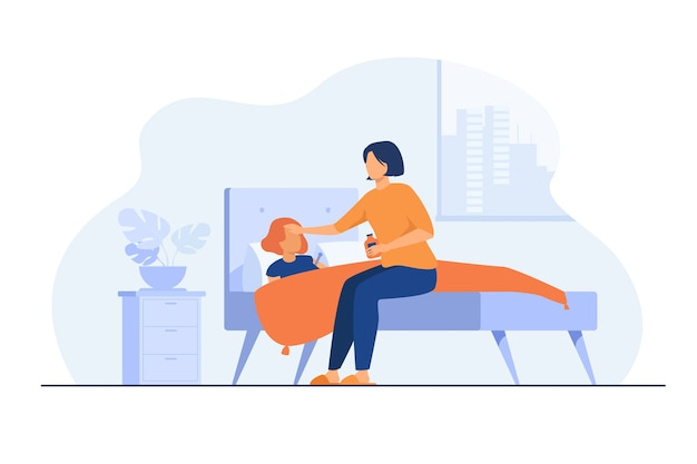 Mom taking care about sick child. girl getting cold, suffering from flu, lying in bed with sore throat and fever. vector illustration for childcare, motherhood, epidemic concept Free Vector