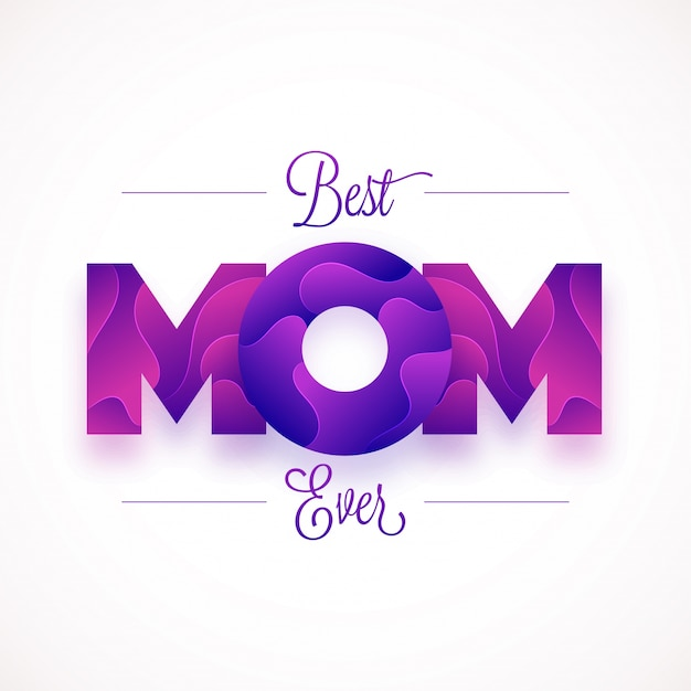 premium vector  mom text design with creative abstract