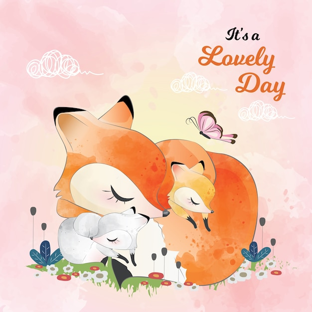 Mommy and baby fox sleeping together Premium Vector