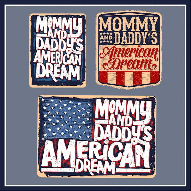 Mommy and daddy's american dream Premium Vector