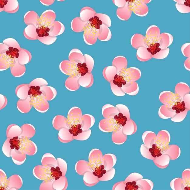Momo peach flower blossom on blue background Premium Vector